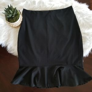 Black Pencil Skirt with Botton Ruffle Size 10
